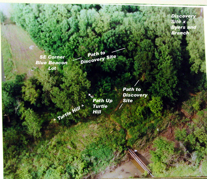 overhead, woods.  Paths labelled.