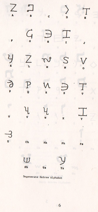 Degenerate Hebrew Alphabet